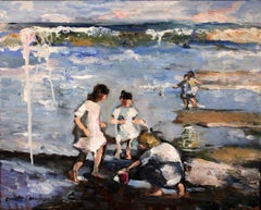 """""""Kids at the Beach"""" Impressionist Beach Scene Oil Painting Style of Potthast"""