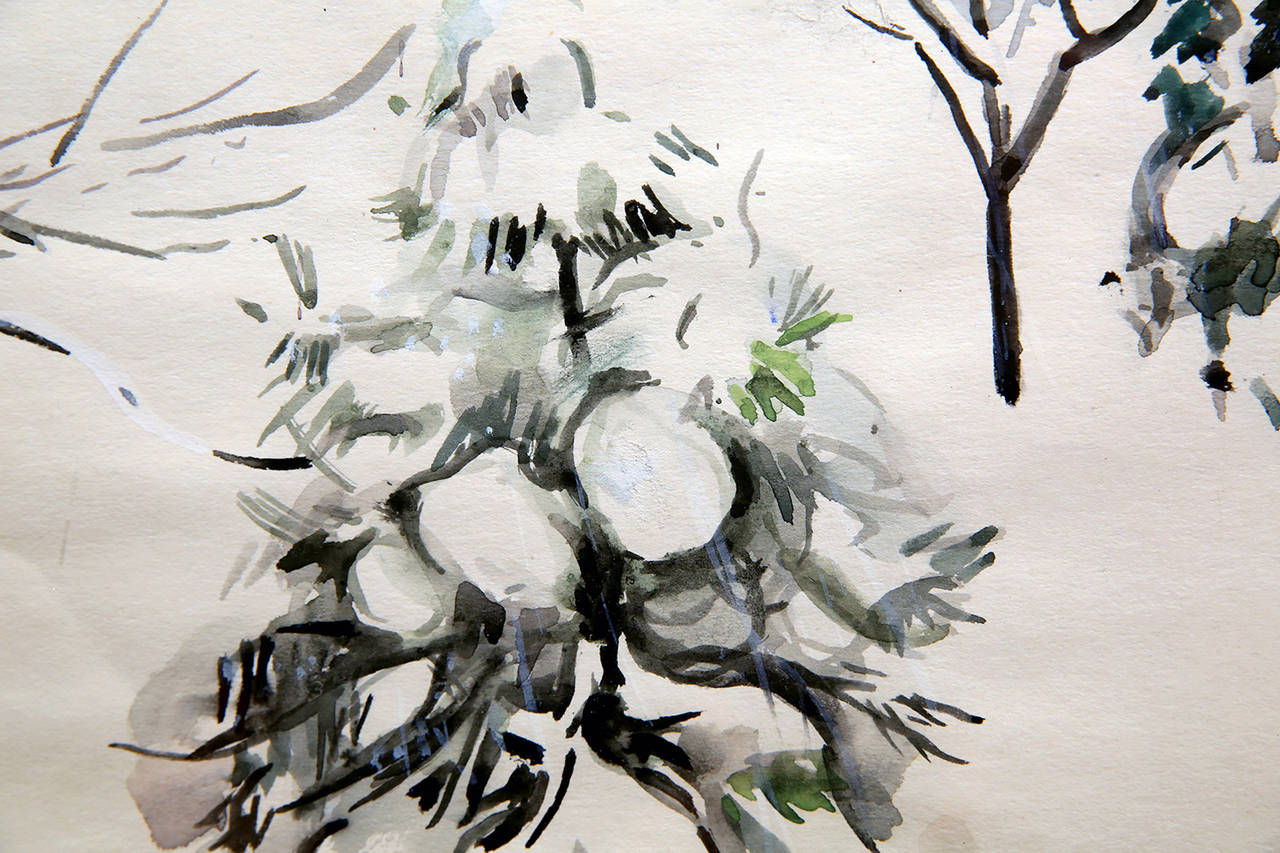 Snow Scene - Black Landscape Art by Martha Walter