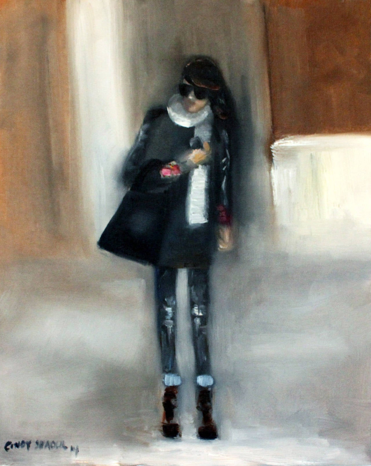 Cindy Shaoul Figurative Painting - Stepping Out, In Chanel