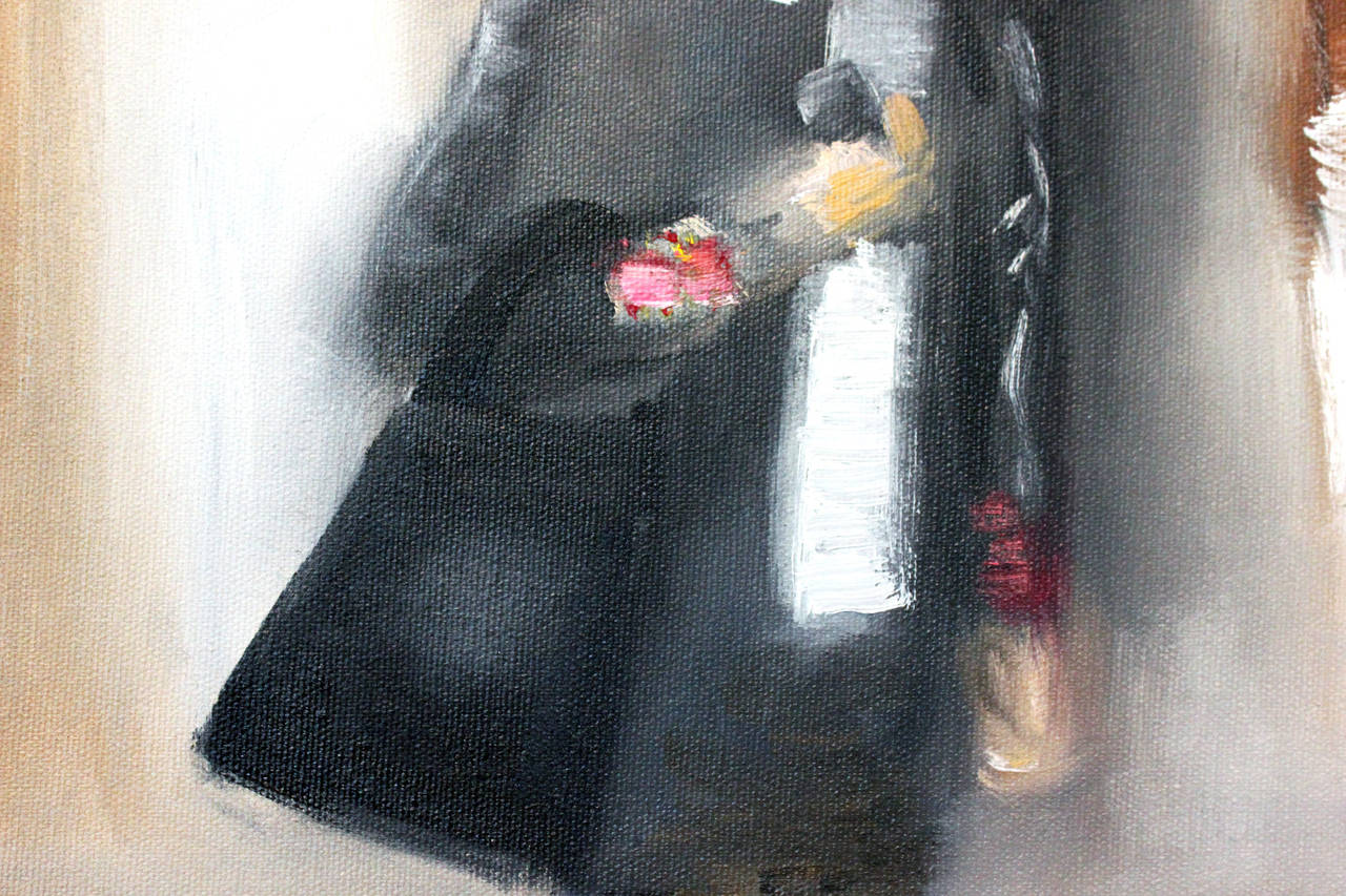 Stepping Out, In Chanel - Impressionist Painting by Cindy Shaoul