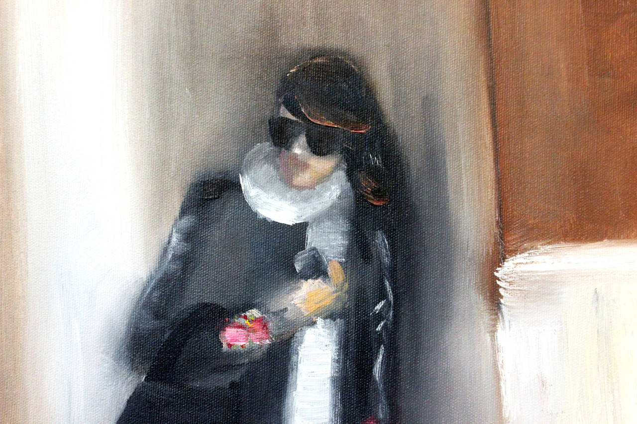 Stepping Out, In Chanel - Painting by Cindy Shaoul