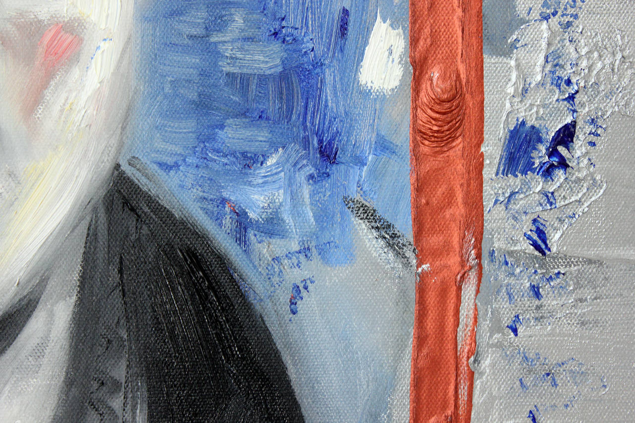 Hi Chaplin - Beige Portrait Painting by Cindy Shaoul