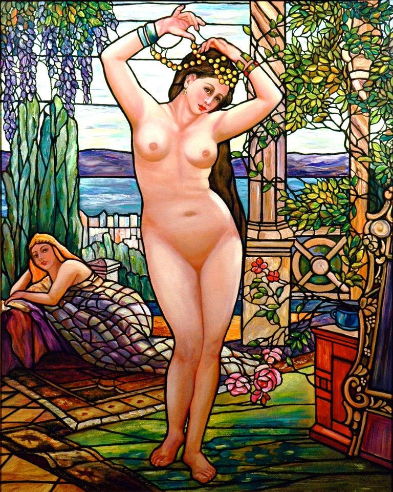 Kristina Nemethy Figurative Painting - Tiffany Style Nude with Wisterias