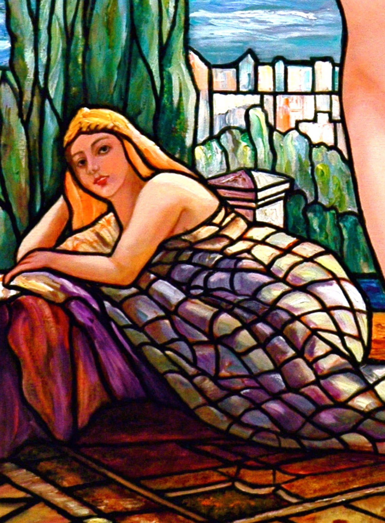 Tiffany Style Nude with Wisterias - Contemporary Painting by Kristina Nemethy