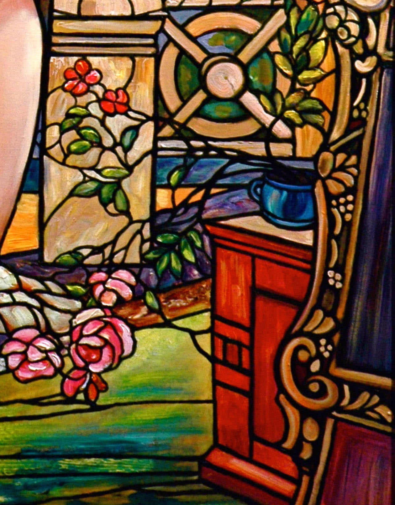 This piece is a bold depiction of interior scene of a nude woman putting jewels in her hair. Nemethy uses techniques borrowed from early Tiffany stained glass windows, giving this piece an effect which seems to light up and as if it is made of