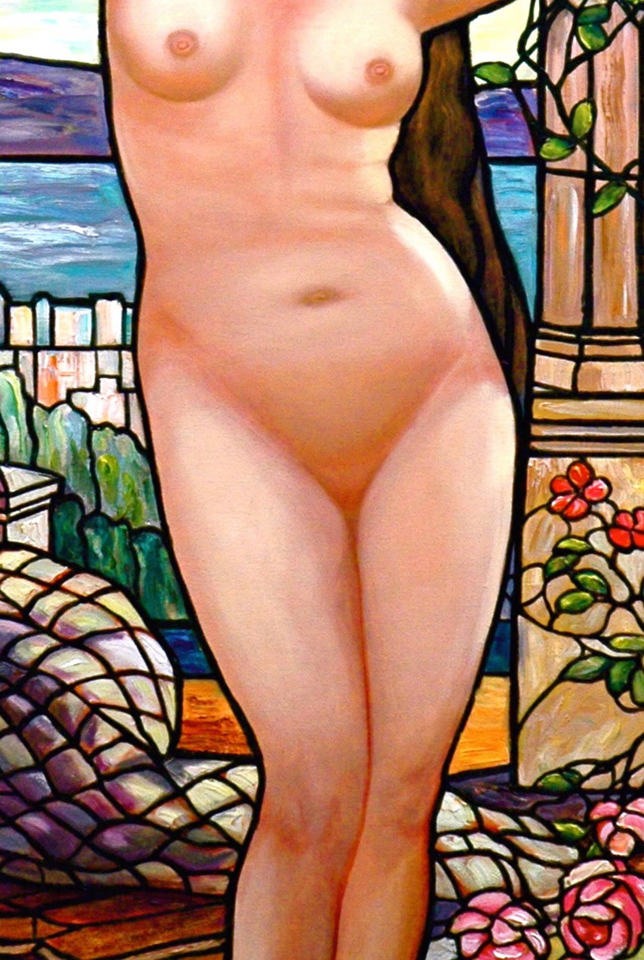Tiffany Style Nude with Wisterias - Painting by Kristina Nemethy