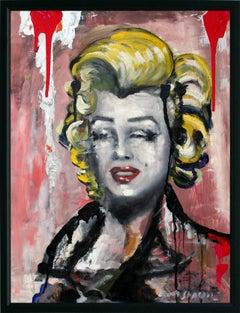 """""""Pop Marilyn"""" Pop Art Marilyn Monroe Portrait Oil Painting of on Board"""