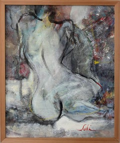 """Work 22 (Nude)"" Abstract Nude Figure Expressionist Acrylic on Canvas Painting"