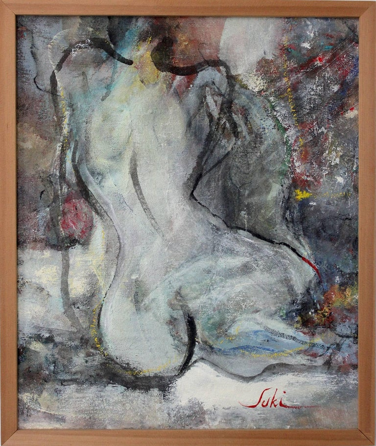 """Suki Maguire Figurative Painting - """"Work 22 (Nude)"""" Abstract Nude Figure Expressionist Acrylic on Canvas Painting"""