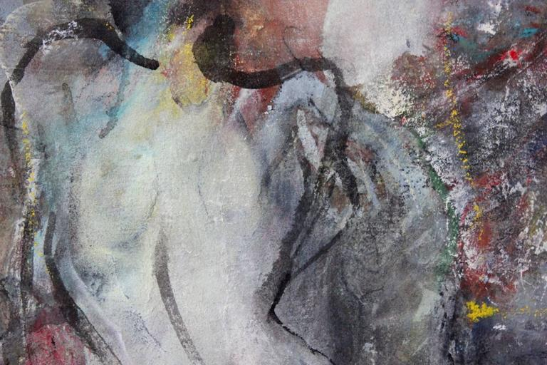 This piece is an abstract composition done with mixed media, oil and acrylic paints on linen. The artist explores an incredible world filled with color and expressive brush strokes. The lines and texture create a mature abstract composition as Suki
