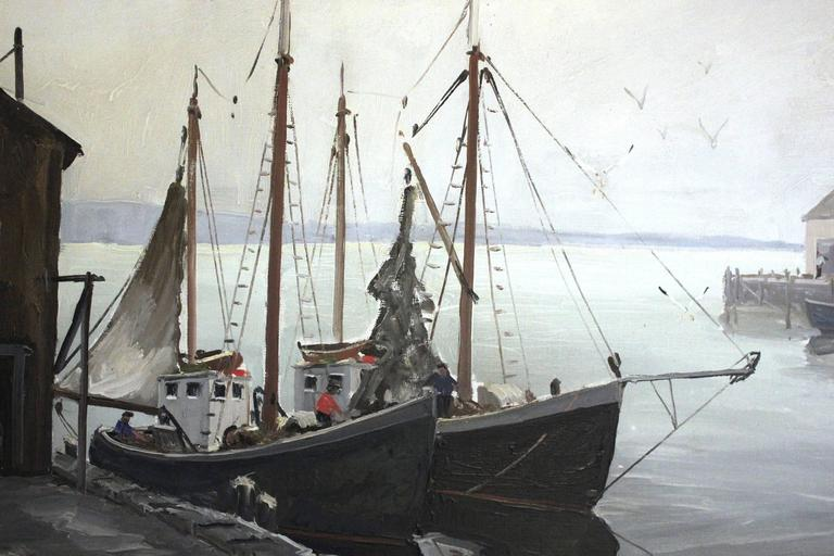 Boats Docked by the Harbor - American Impressionist Painting by Melville F. Stark