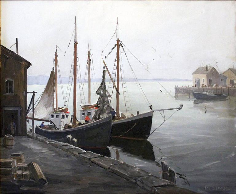 Boats Docked by the Harbor - Painting by Melville F. Stark