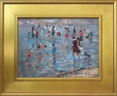 20th Century French Beach Scene with Figures