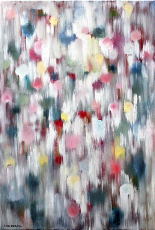 Cindy Shaoul Abstract Painting - Dripping Dots, Ibiza