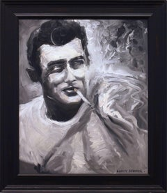 """""""Jame's Haze"""" Impressionistic Oil Painting of James Dean in Black and White"""