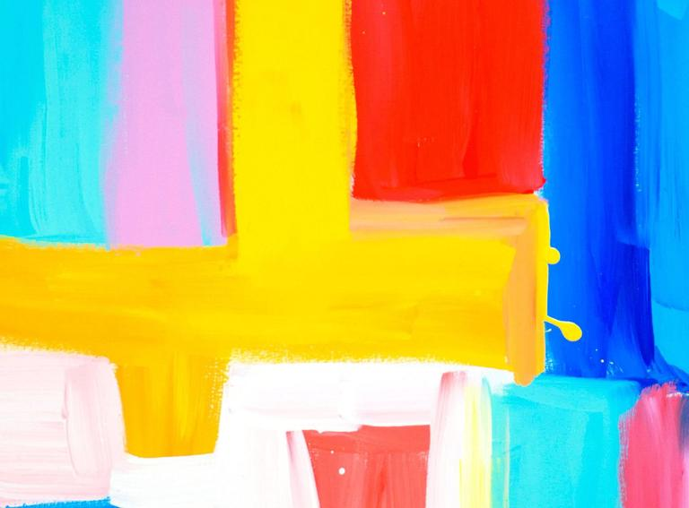 Turquoise and Pink Make Love - Painting by Gillie and Marc Schattner
