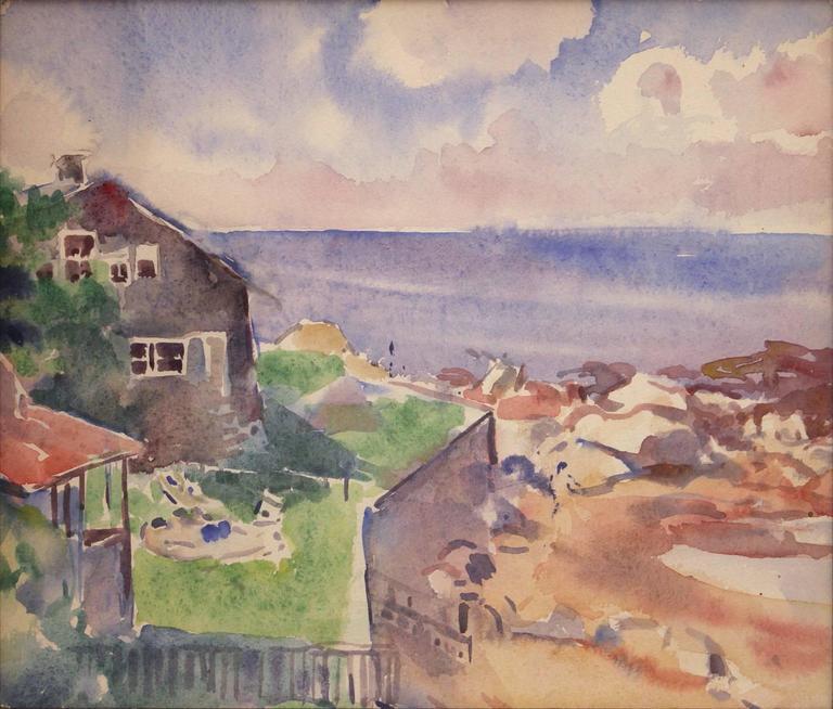 Beach House Scene - Painting by Martha Walter