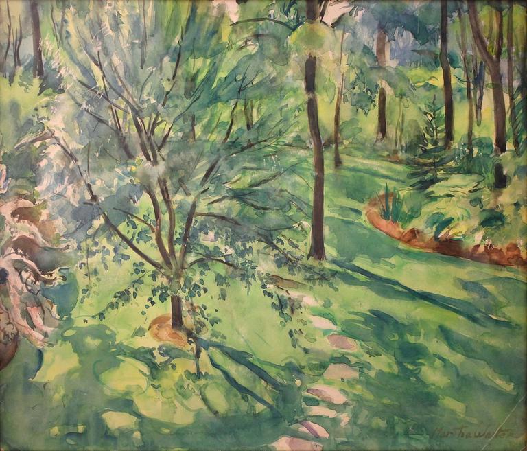 Home Garden Scene - Painting by Martha Walter