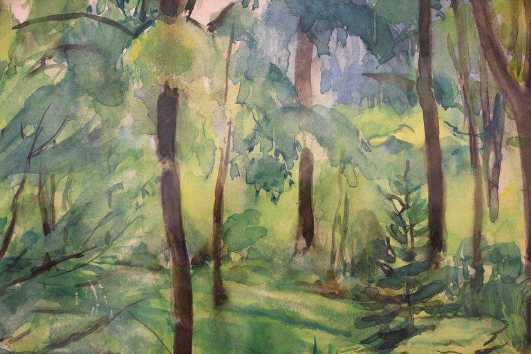 This piece is a wonderful composition of a home garden scene depicting all the lush greens and the landscaping arrangements, and a stone walking path crossing through it. With vibrant green colors and soft details, representing a pertinent example