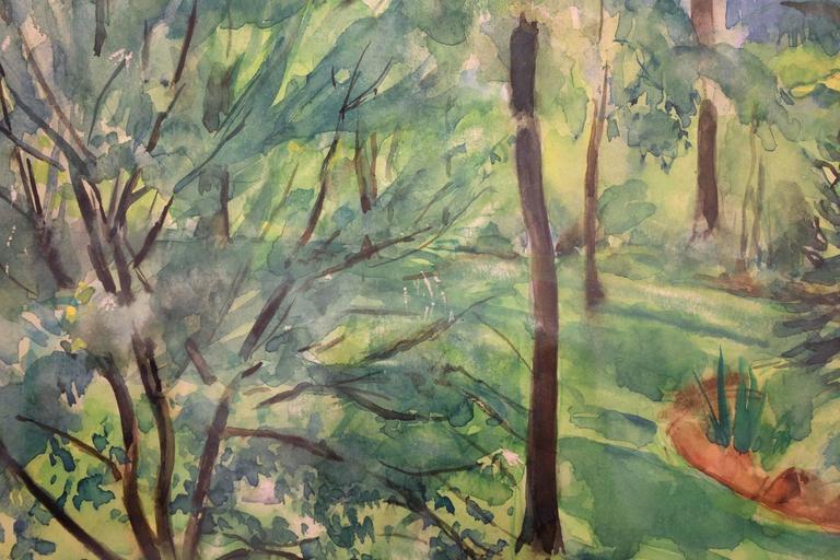 Home Garden Scene - Brown Landscape Painting by Martha Walter