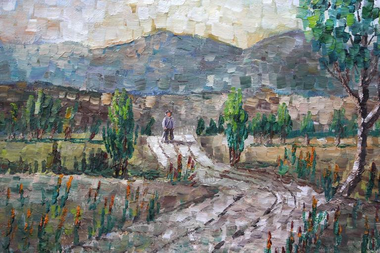 Walking Through the Fields - American Impressionist Painting by Kristina Nemethy