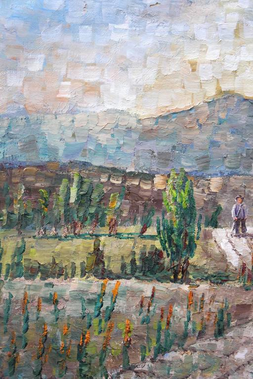 Walking Through the Fields - Brown Figurative Painting by Kristina Nemethy