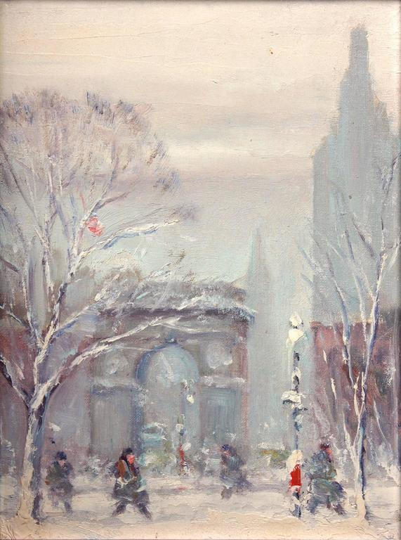 johann berthelsen washington square park winter scene