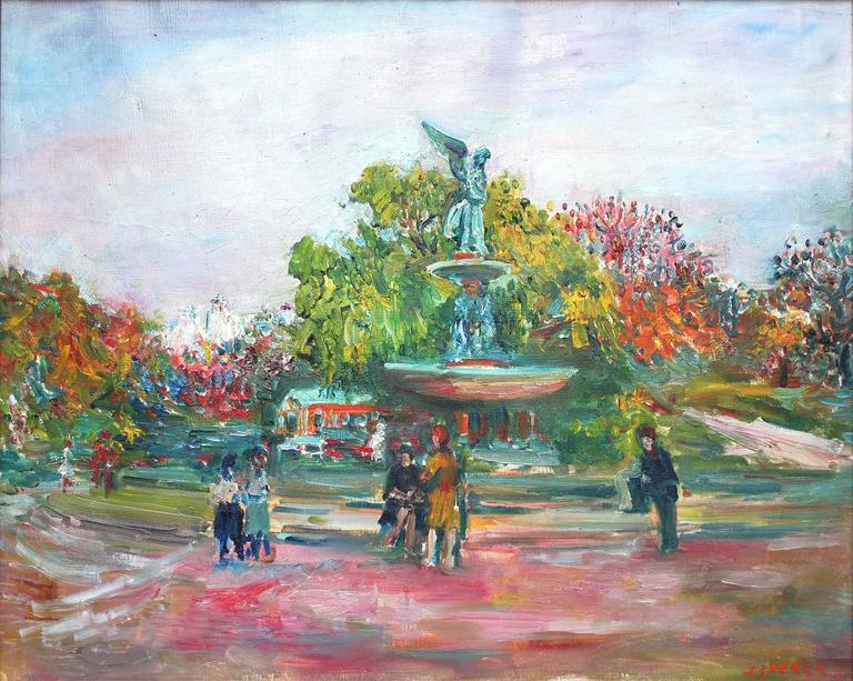 jacques zucker bethesda fountain in new york city 39 s central park painting for sale at 1stdibs. Black Bedroom Furniture Sets. Home Design Ideas