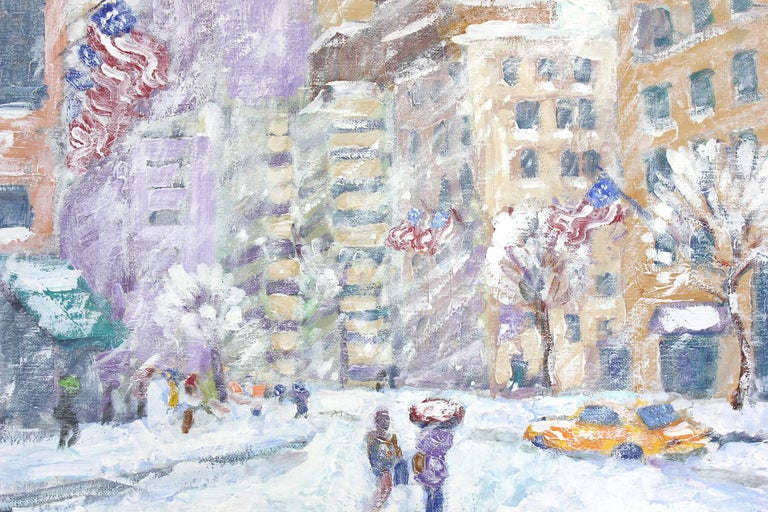 A scene of iconic Columbus Circle in Manhattan depicting the snowstorm in a most intimate, yet energetic way. Crimmins is known for capturing on sight scenes of Manhattan and Long Island, engaging his audience with quick use of brushwork and great