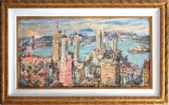 """San Francisco Bay"" Abstract Impressionist City Landscape Oil Painting on Board"