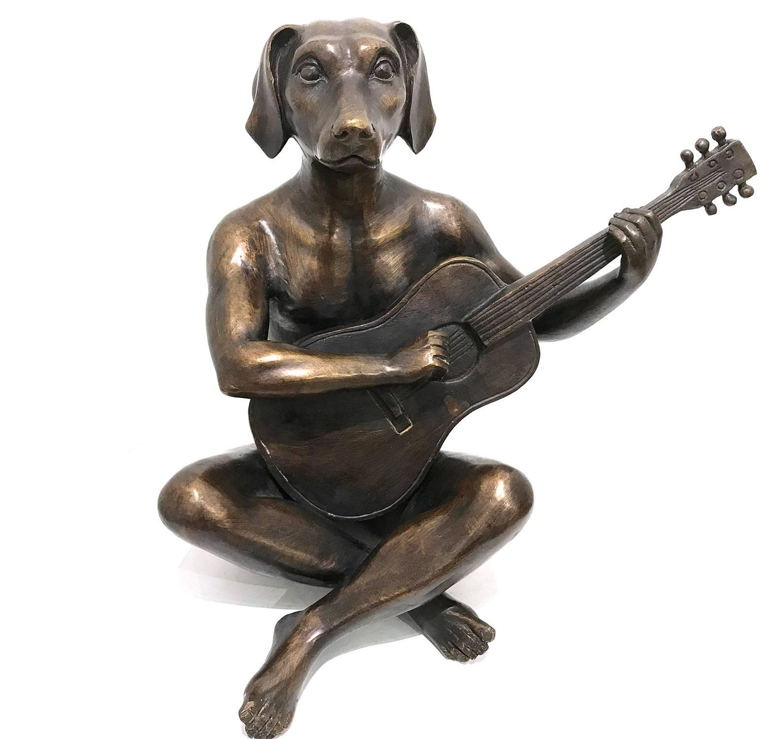 """""""He Played Like He Was Keith Richards"""" Dogman with Guitar Bronze Sculpture"""