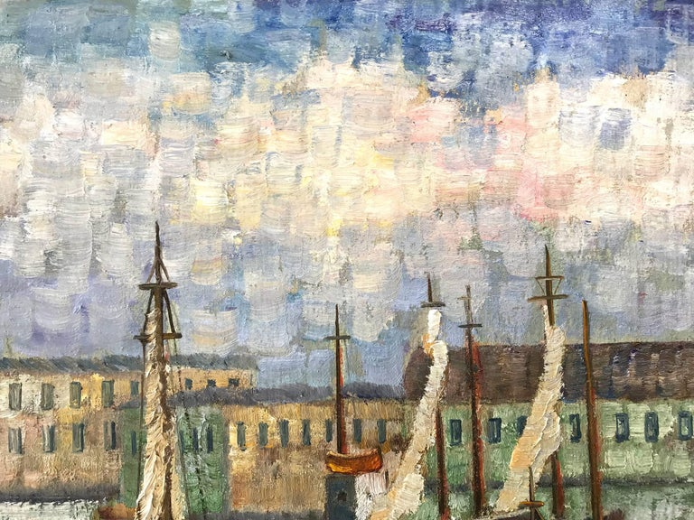 A stunning depiction of boats docked in a Cape Cod harbor. Nemethy uses a bold impressionistic technique with thick use of paint and wonderful impressions. With unique colors from the North East, we can feel the atmosphere effortlessly. With joyful