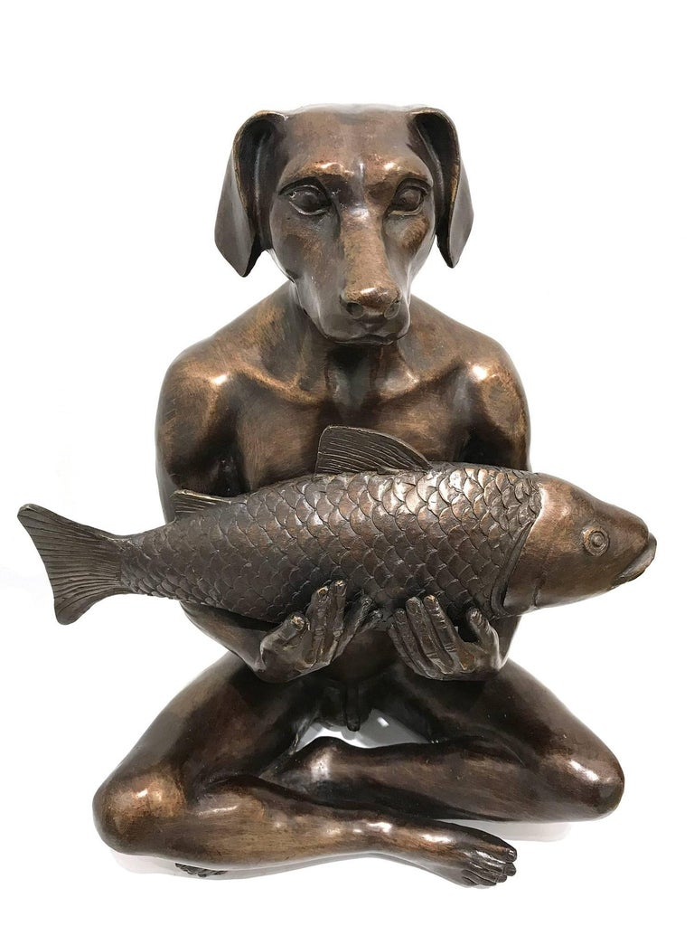 He Had the Catch of the Day - Sculpture by Gillie and Marc Schattner