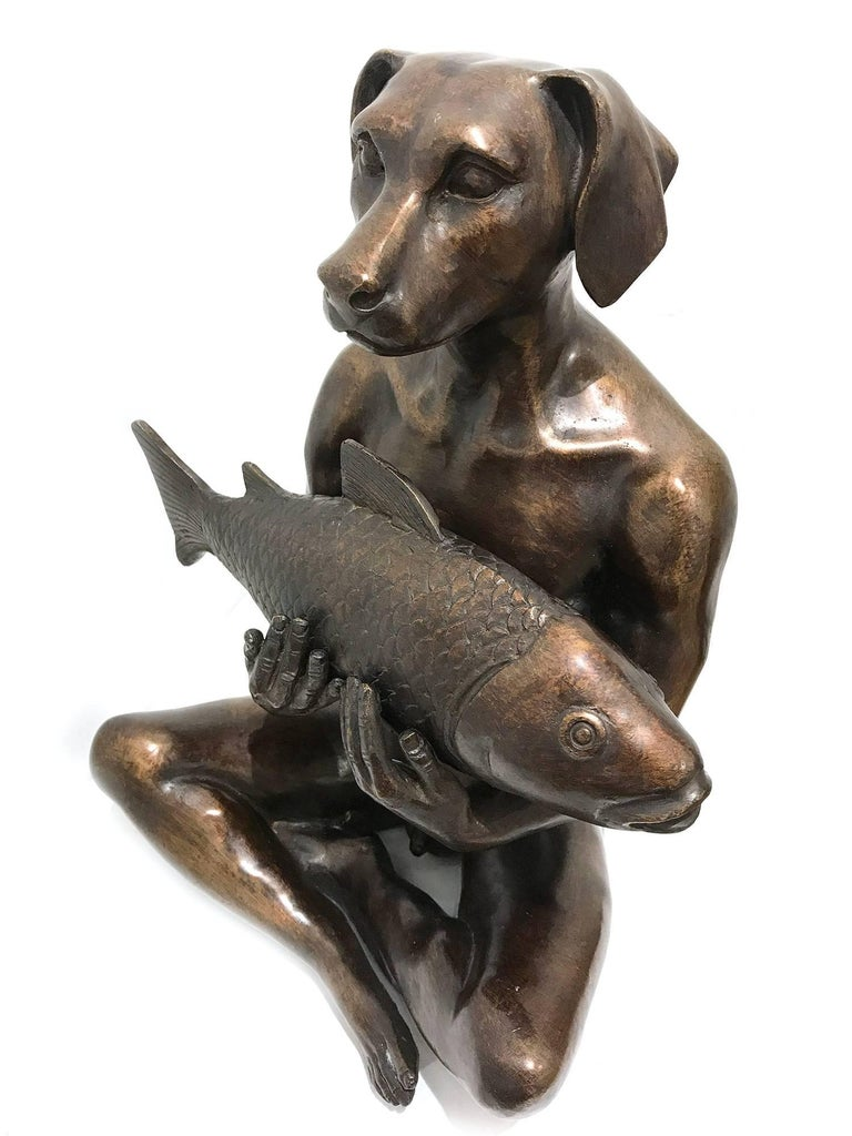 He Had the Catch of the Day - Pop Art Sculpture by Gillie and Marc Schattner