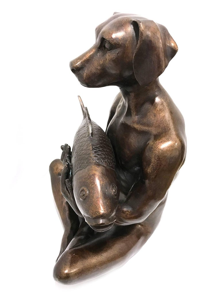 He Had the Catch of the Day - Gold Figurative Sculpture by Gillie and Marc Schattner