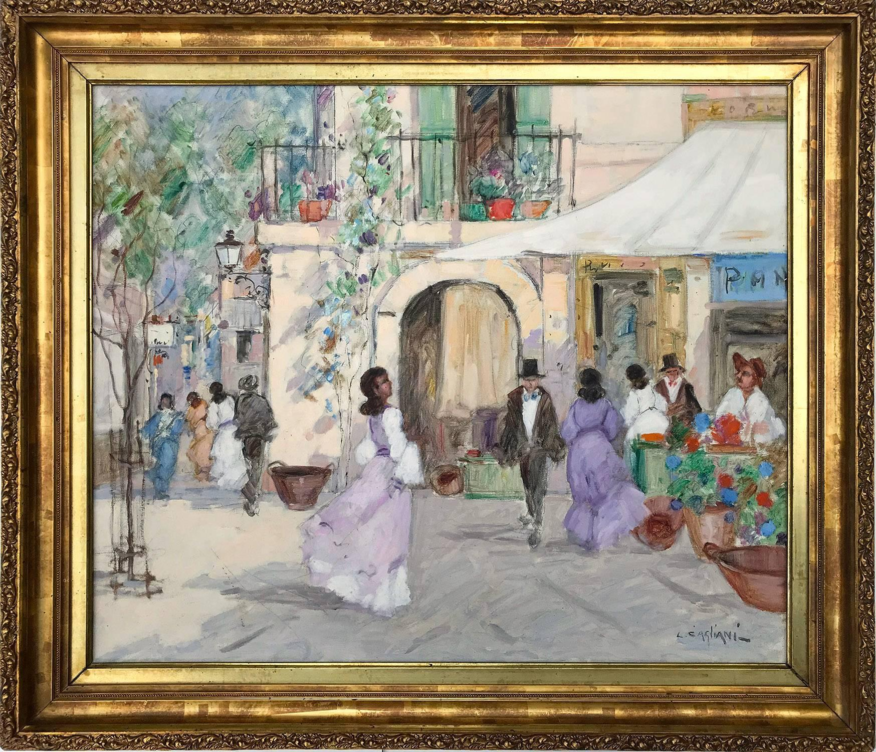 """""""Parisian Market Scene with Figures"""" Impressionist Oil on Canvas Painting"""