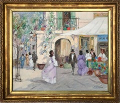 """Parisian Market Scene with Figures"" Impressionist Oil on Canvas Painting"