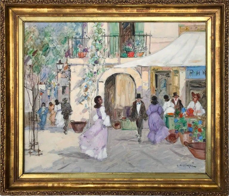 "Luigi Cagliani Figurative Painting - ""Parisian Market Scene with Figures"" Impressionist Oil on Canvas Painting"