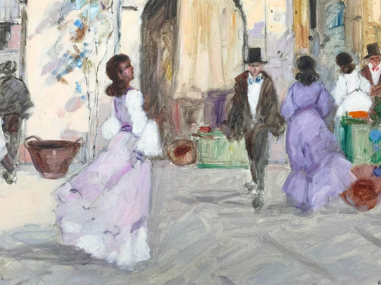 A whimsical oil painting depicting a market-place scene in Paris, France by Luigi Cagliani. As an Italian Impressionist artist, most of Cagliani's works were produced in the first half of the 20th Century. He was known for his charming compositions