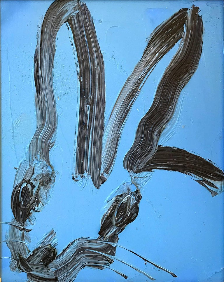 Untitled (Bunny on Cobalt Blue) - Painting by Hunt Slonem