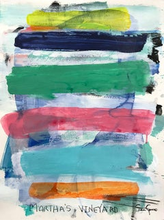 """Martha's Vineyard"" Contemporary Colorful Painting on Heavy Weight Paper"