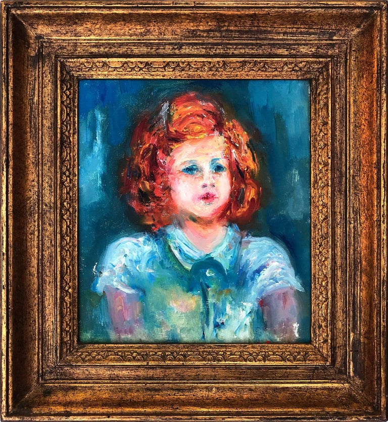 Portrait of Young Girl in Blue Dress