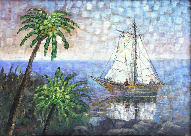Sailing in the Lagoon - Painting by Kristina Nemethy