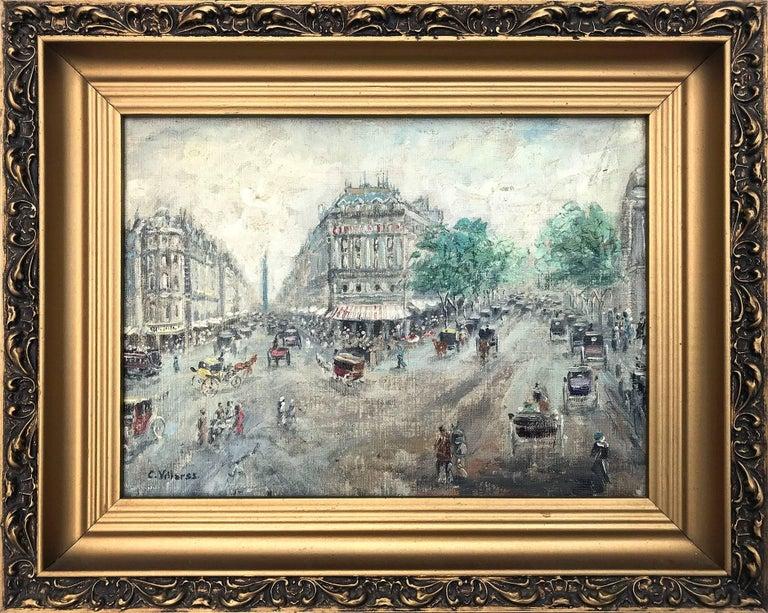 """Cesar A. Villacres Landscape Painting - """"Rue de la Paix, Paris"""" French Impressionist Cityscape Oil Painting on Canvas"""