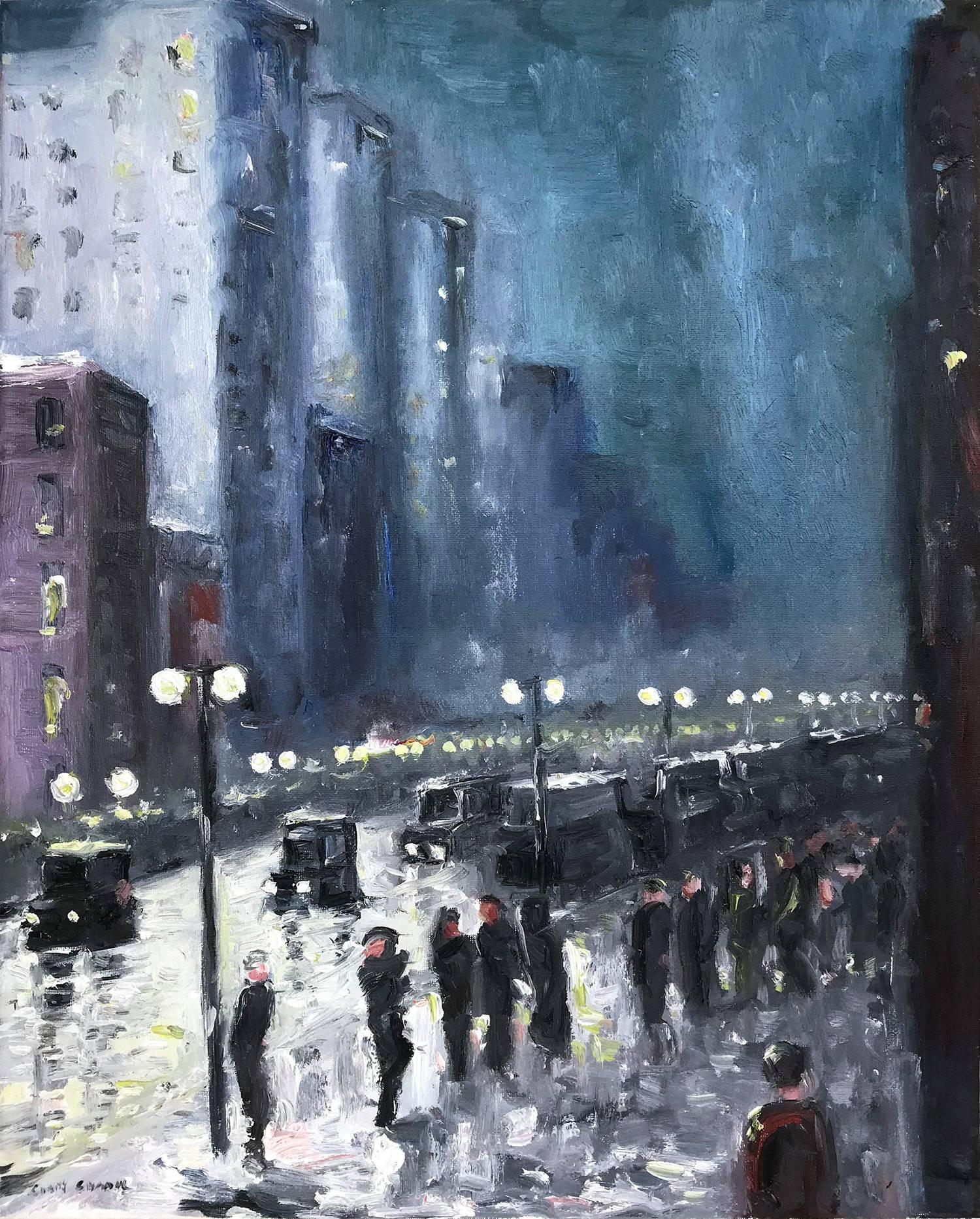 """""""The City At Night"""" Impressionist Nocturnal Street Scene Oil Painting on Canvas"""