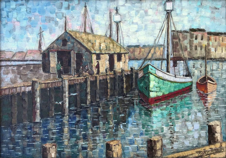 Cape Cod Harbor Scene - Painting by Kristina Nemethy