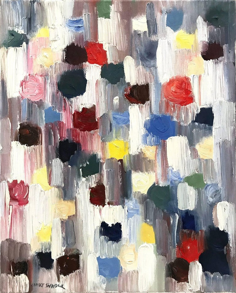 Cindy Shaoul Abstract Painting - Dripping Dots, Downtown Lights