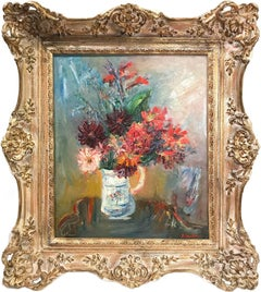 """""""Floral Arrangment in Jug"""" Post-Impressionism Still Life Oil Painting on Canvas"""