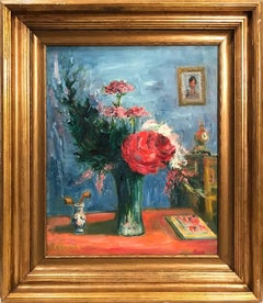 """""""Bouquet Interior Scene"""" Post-Impressionism Still Life Oil Painting on Canvas"""