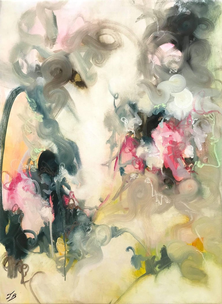 """Tara Bergey Abstract Painting - """"Mystical Clouds"""" Contemporary Colorful Abstract Oil Painting on Gallery Canvas"""